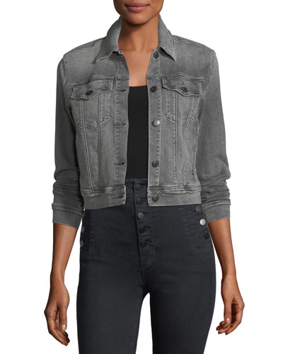 Harlow Button-Front Shrunken Denim Jacket