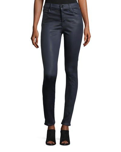 Maria High-Rise Skinny-Leg Coated Pants