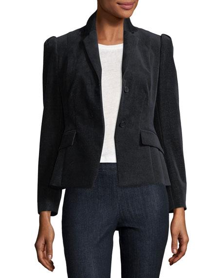 Shrunken Button-Front Velvet Denim Jacket