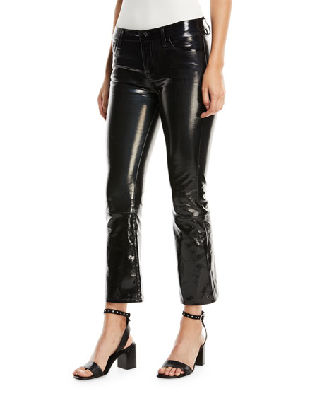 Selena Mid-Rise Fitted Boot-cut Patent Leather Pants