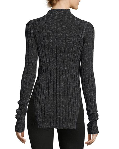 Wide Rib Mock-Neck Refine Merino Wool Top