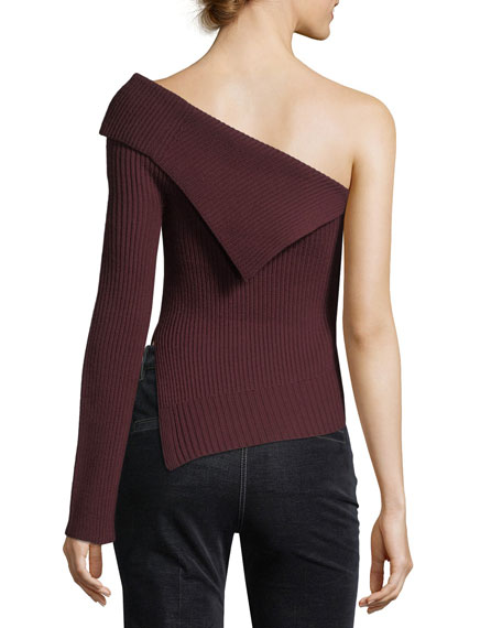 Off-the-Shoulder One-Sleeve Harmony Wool Knit Sweater