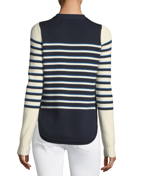 Amos Striped Merino Button Sweater