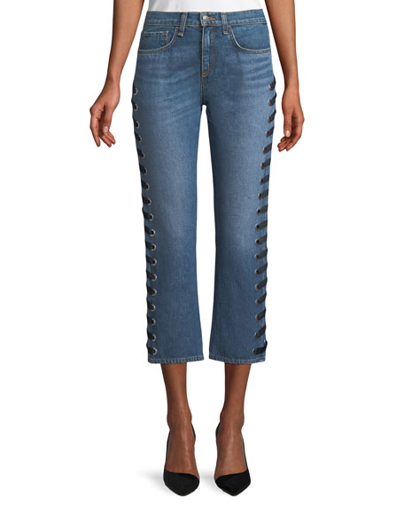 Ines Straight-Leg Girlfriend-Style Jeans with Lace-Up Sides