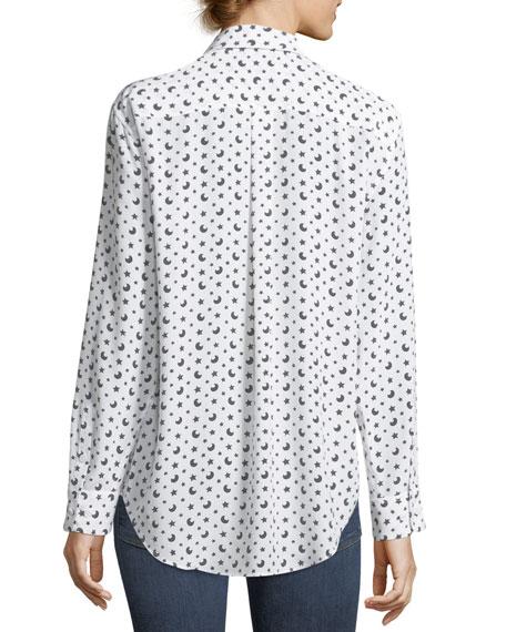 Moon & Stars Button-Front Print Signature Silk Shirt