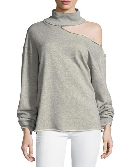 Rta  Langley Turtleneck Cotton Sweatshirt, GRAY