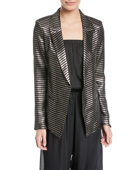 Iggy Peak-Lapel Metallic Striped One-Button Blazer