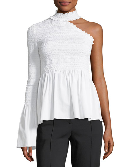 b995432d03e A.L.C. Cossette Mock-Neck One-Shoulder Smocked Poplin Blouse