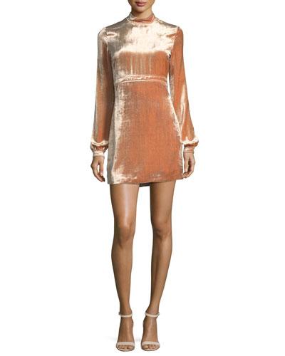 Gemma Mock-Neck Long-Sleeve Velvet Cocktail Dress
