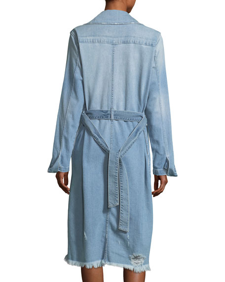 Le Denim Double-Breasted Trench Coat