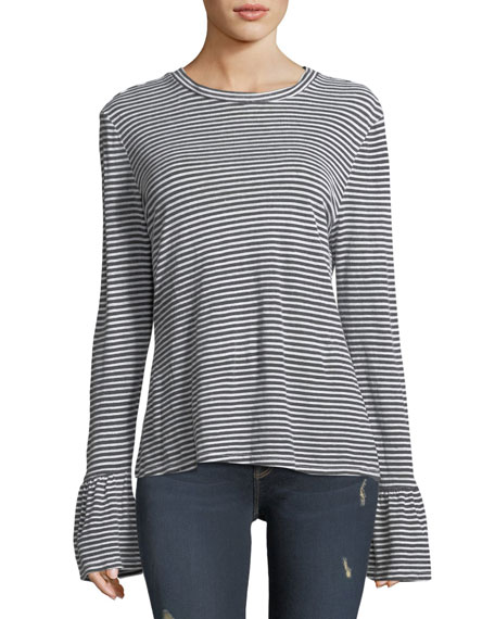 Fine-Stripe Long-Sleeve Linen Top