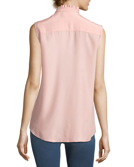 Ruffle-Neck Sleeveless Silk Blouse