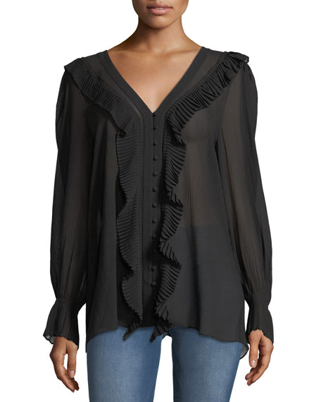 V-Neck Button-Front Feminine Silk Blouse with Pleated Ruffles