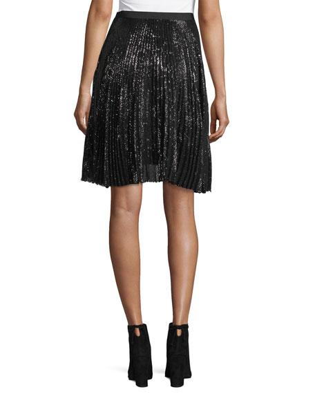 Jadian Pleated Sequin A-Line Skirt