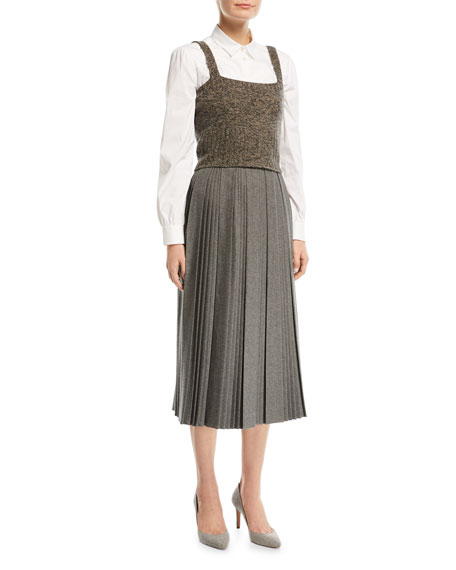 Stretch-Flannel Midi Skirt with Interrupted Pleats