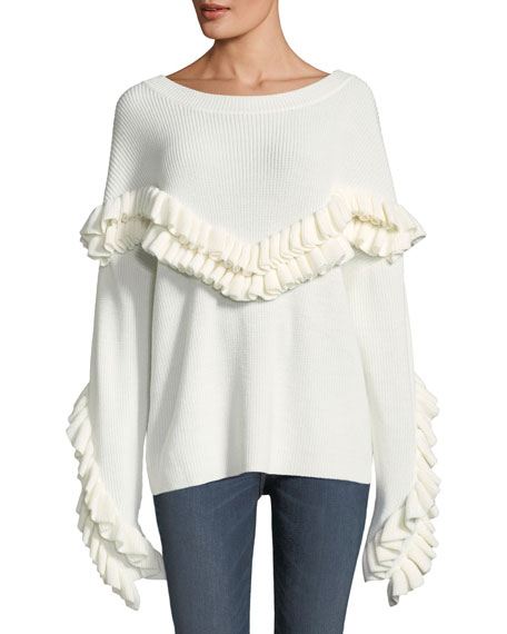 Ruffle-Yoke Ribbed Sweater