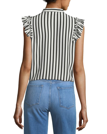 Sleeveless Striped Silk Blouse with Ruffled Trim