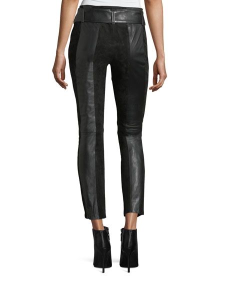 Paneled Suede & Leather Skinny-Leg Pants