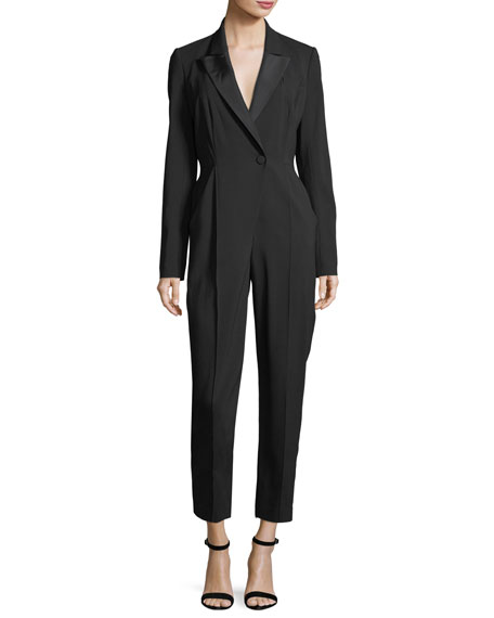 Kensington One-Button Cutout-Back Skinny-Leg Crepe Jumpsuit