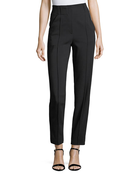 Angelo High-Waist Straight-Leg Crepe Pants