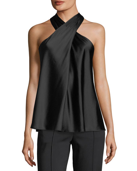 Arvid Sleeveless Halter Silk Satin Top