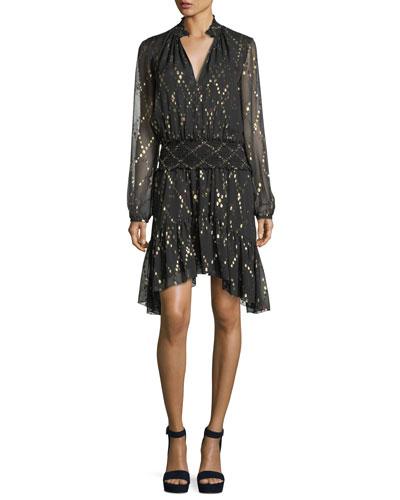 Tula Split-Neck Long-Sleeve Silk Metallic Dress