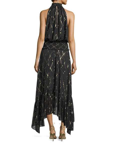 Easton Sleeveless Halter-Neck Long Chiffon Dress w/ Metallic