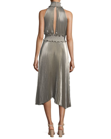 Kravitz High-Neck Sleeveless Metallic Pleated Midi Dress