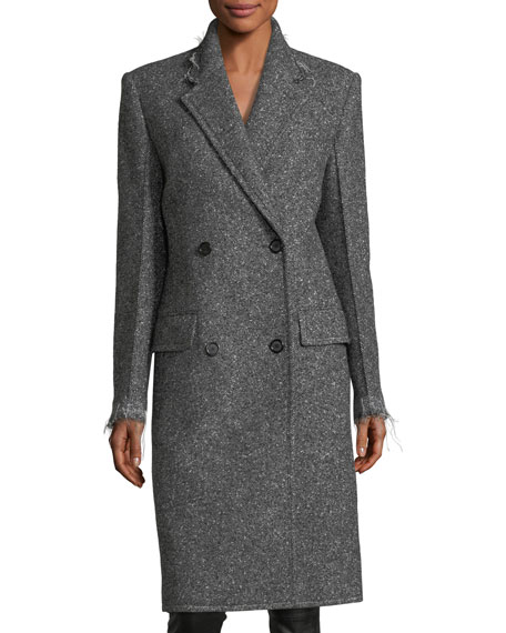 Double-Breasted Wool Coat with Frayed Edges