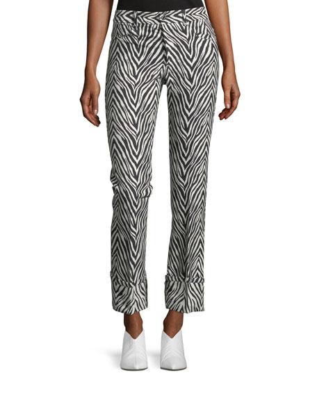 Herringbone Zebra-Jacquard Straight-Leg Pants