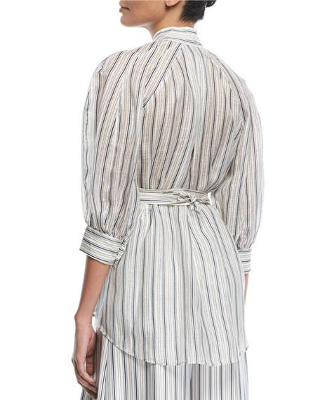 Painted Heart Mock-Neck Striped Silk Shirt