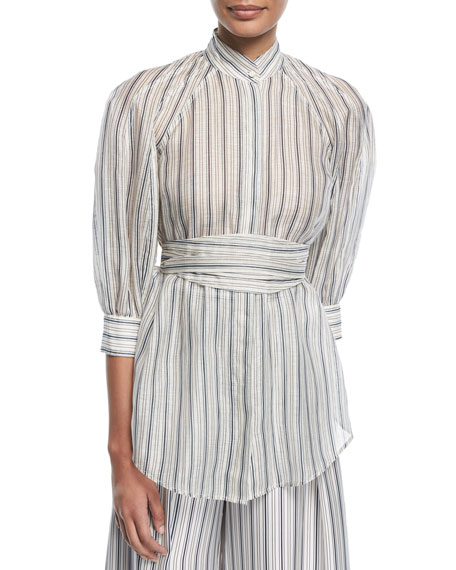 Painted Heart Mock-Neck Striped Silk Shirt