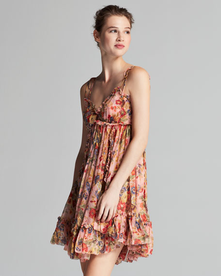 Lovelorn Floral-Print Sleeveless Mini Dress