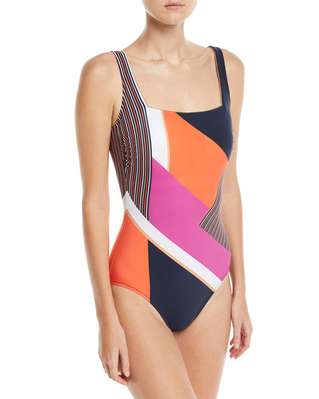 Martime Square-Neck Mixed-Print One-Piece Swimsuit