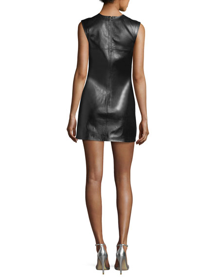 Safety-Pin Leather Sleeveless Fitted Mini Dress
