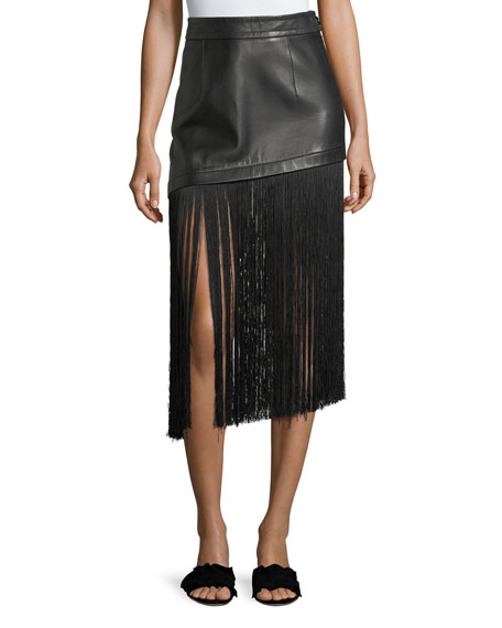 A-Line Leather Mini Skirt With Long Fringe Hem, Black