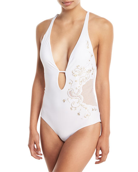 Jets By Jessika Allen ORNAMENTAL PLUNGING SOLID ONE-PIECE SWIMSUIT WITH EMBROIDERY