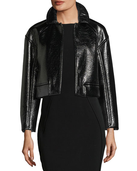 Snap-Front Vegan-Leather Cropped Jacket