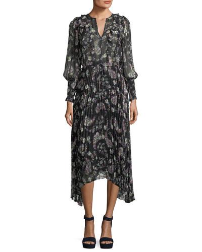 Split-Neck Long-Sleeve Floral-Print Chiffon Dress
