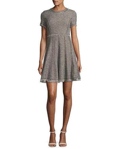 Crewneck Short-Sleeve Tweed Short Dress