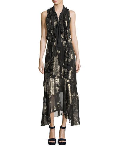 Harriet Sleeveless Tie-Neck Silk Metallic Long Dress