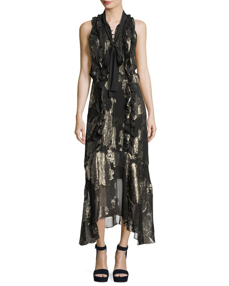 Harriet Sleeveless Tie-Neck Silk Metallic Long Dress