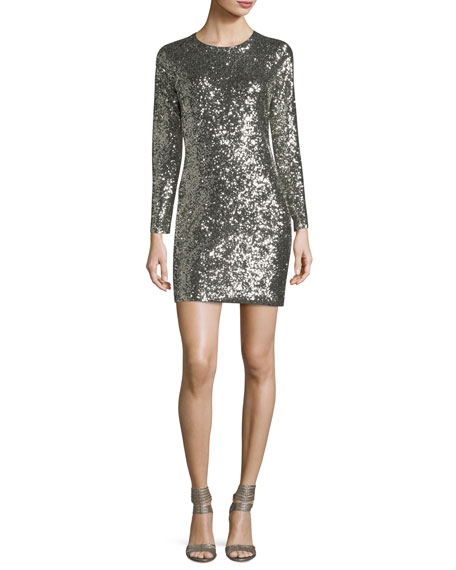 Aliya Sequin Crewneck Long-Sleeve Fitted Mini Dress