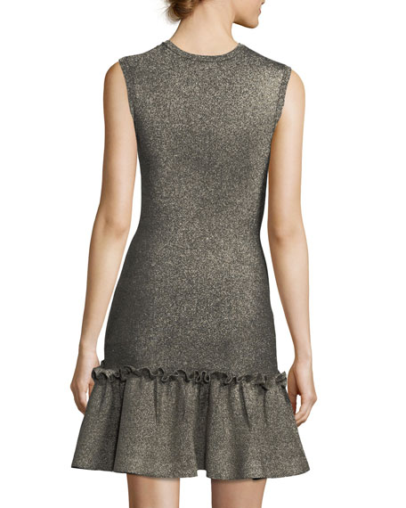 Kilmer Crewneck Sleeveless Metallic Knit Mini Dress