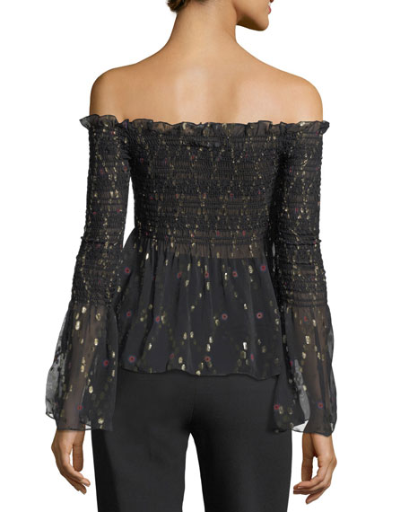 Agra Off-the-Shoulder Top with Metallic