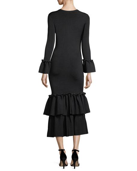 Adler Scoop-Neck Long-Sleeve Knit Dress