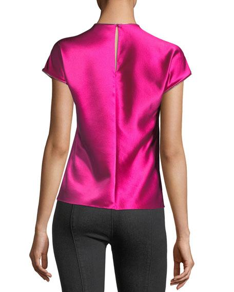 High-Neck Cap-Sleeve Satin Dress with Zipper Detail