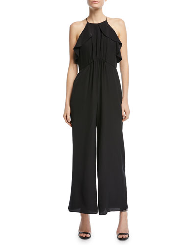 Sleeveless Ruffled-Frill Wide-Leg Silk Jumpsuit