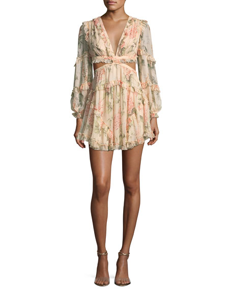 0ab3ad2bb931a Zimmermann Prima Floating Floral-Print Cutout Dress