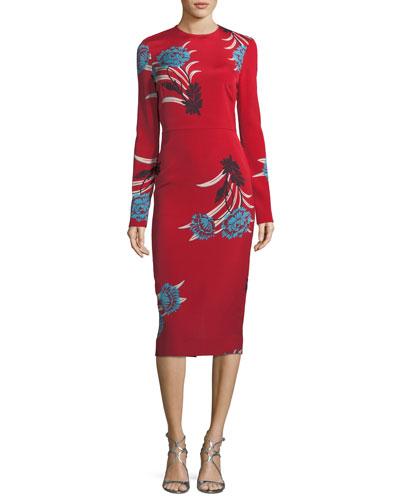 Tailored Long-Sleeve Floral Sheath Dress